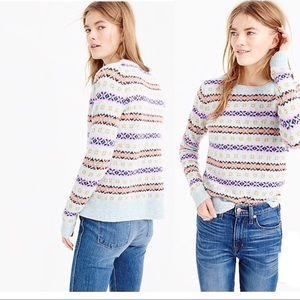 J Crew Fair Isle Crewneck Lambs Wool Sweater